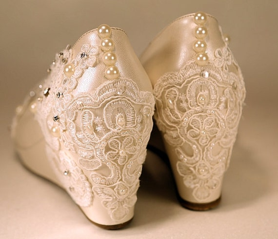 Wedding Shoes Lower Wedge Ivory Wedges Closed Toe