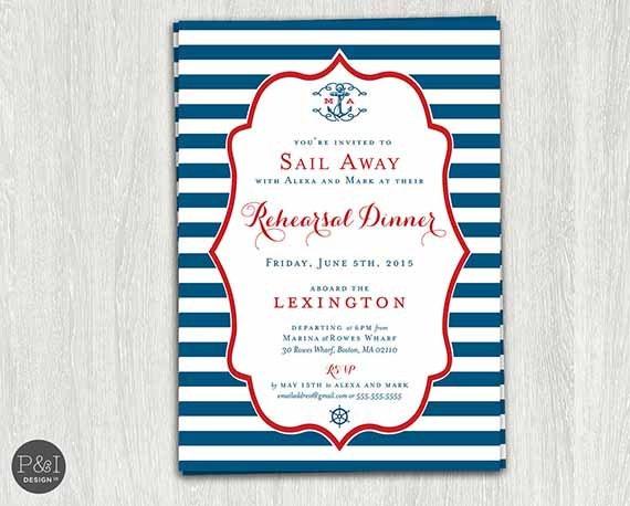 Nautical Rehearsal Dinner Invitation DIY Digital Printable