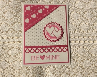 Handmade Greeting Card:  Be Mine Valentine's Day card. Pink and white