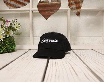 CALIFORNIA Baseball Hat Low Profile Embroidered Baseball Caps Dad Hats Black