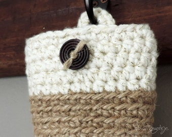 Hanging Cell Phone Pouch Charging Organizer, Jute & Cotton Basket, Unique Gift, Office Storage, Colorblock Color Block Style, Chic Catchall