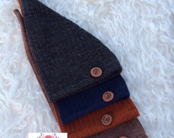 Newborn Button Hat, Baby Long Hat, Brown, Blue, Gray Hat, Newborn Photo Prop, Baby Boy Hat, Newborn Props, UK Seller