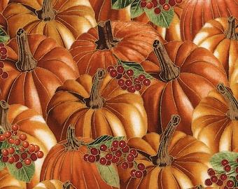 Metallic Pumpkin Fabric, Timeless Treasures Harvest CM4293 Pumpkin, Give Thanks, Quilt Fabric, Pumpkins, Berries, Fall, Thanksgiving, Cotton