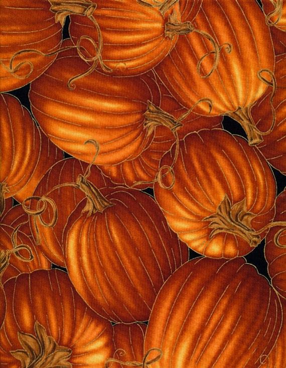 Metallic Gold Pumpkin Fabric, Timeless Treasures Harvest CM6443 ... : fall quilt fabric - Adamdwight.com