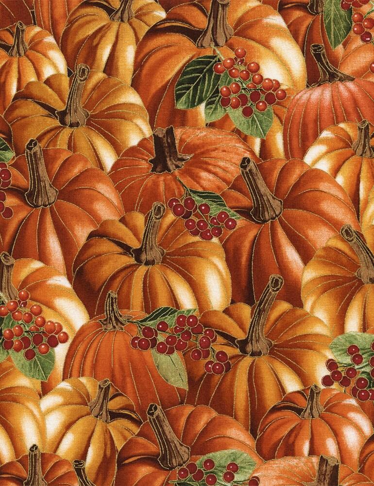 metallic pumpkin fabric  timeless treasures harvest cm4293 pumpkin  give thanks  quilt fabric