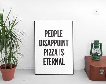 Pizza Print, Pizza Wall Decor, Pizza Poster, Pizza Art, Home Decor, Quote Print, Kitchen Art, Retro, Wall Art, Kitchen Print, Pizza Print