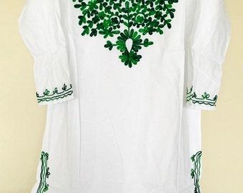 Women 100% cotton white hand embroidered Kurti kurta tunic dress top sz Large.