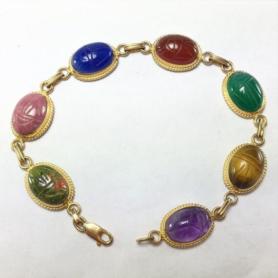 14k Gold Scarab Bracelet Egyptian Revival