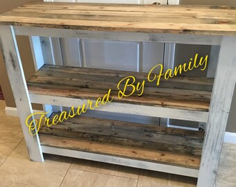 Hallway table entryway buffet sofa table barnwood distressed white primitive wood table