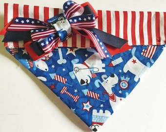 July 4th Patriotic Dog Bandana with Stars, Stripes and Dogs