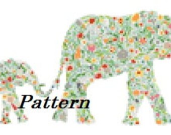 Elephant mommy and baby. Abstract. Cross Stitch Pattern. PDF Files.