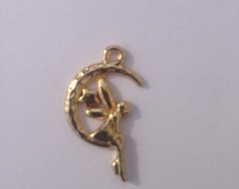 Moon Faeries Charm, Gold finish, for jewellery making