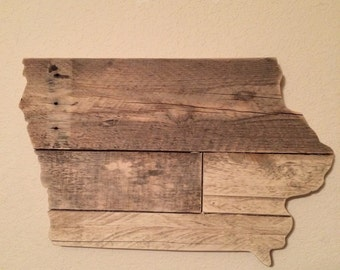 Small Iowa State Sign | Reclaimed Wood | Pallet Sign | Home Decor | Wall Art | Rustic Decor | Barn wood | Handmade | Harbor and Home