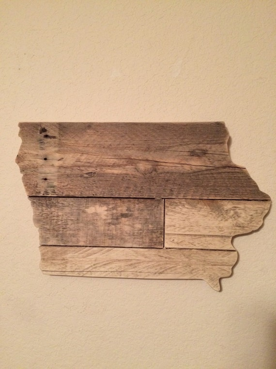 Small Iowa State Sign | Reclaimed Wood | Pallet Sign | Home Decor | Wall Art - Small Iowa State Sign Reclaimed Wood Pallet Sign Home