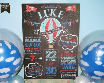 Custom chalkboard style birthday Hot Air Balloon, Vintage airplane milestone stat poster Up, up and away. Digital or printed 18x24