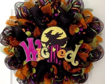 Wicked Witch Handmade Deco Mesh Halloween Wreath