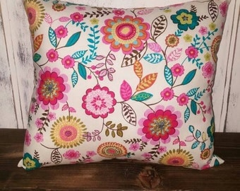 Flower Throw Pillow Cover, Accent Pillow, Couch Cushion
