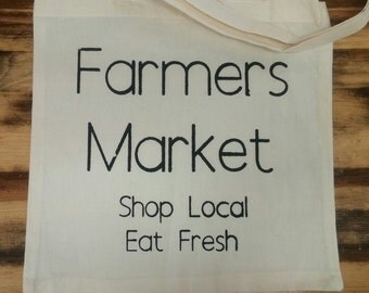 I Love My Local Farmers Tote Bag, Shopping Bag, Market Bag, Reusable Bag