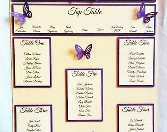 Personalised Butterfly Design Wedding Seating Plan - Many Colours