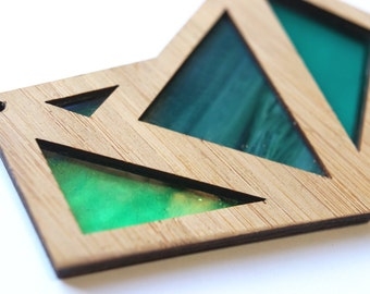 Shades of Green Foxface Wooden Pendant on chain