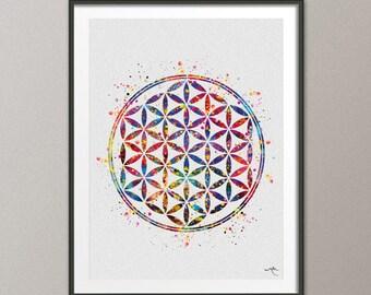 Flower of Life Sacred Geometry Watercolor Art Print Wall Art Poster Wedding Gift Nursery Housewares Buddha Home Decor  [NO 494]