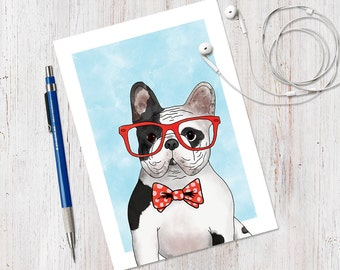 French Bulldog Illustrated Handbound Blank Journal