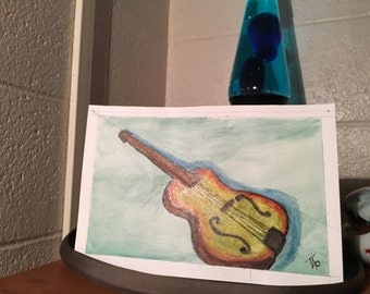 Guitar Art, green, on 9 x 6 inch watercolor paper