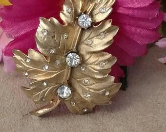 CORO Designer Brooch, Gold Tone, Adorned, Clear Rhinestones, Marked, Leaf Pattern, Matte Finish