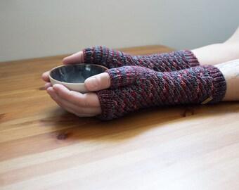 Vampire Stars ~ Knit Fingerless gloves, Fingerless glove mittens, Long knit gloves, Boho knit glove mittens, Women's Fingerless Mitts