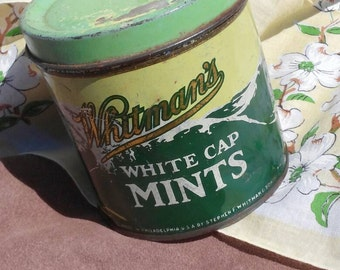 Vintage Whitman's White Cap Mints Tin