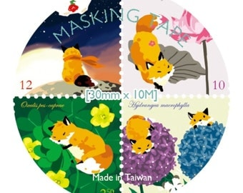 Fox with flower stamps washi tape