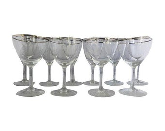 Mid Century Set of 10 Silver -Rim Party Glasses.