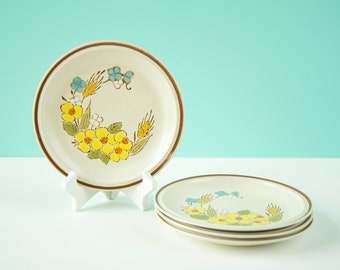 Vintage Stonewear Small Plates Hearthside Floral Expression Springtime- Handpainted Japan- Set of 4 Salad- 1970s