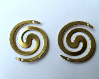 Raw Brass Stamping Spiral Connectors, Two Hole Jewelry Finding, Component, Embellishments  4 pcs -American Made