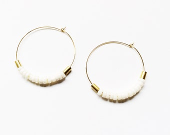 PEACE | Gold-Plated Brass Hoop Earrings with Brass and White Shell or Aquamarine Quartz Beads