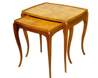 Set Of 2 Burl Wood Nesting Tables By Baker
