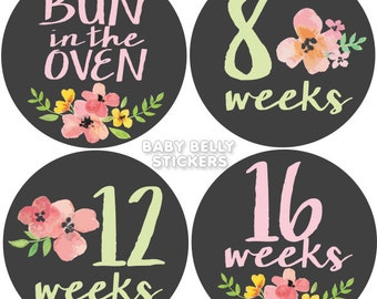 Belly Stickers, Pregnancy Stickers, Maternity Stickers, Weekly Pregnancy Stickers, Pregnancy Belly Stickers, Belly Bump Stickers, Floral