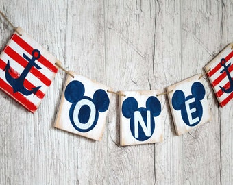 First Birthday banner One year old Sailor banner banner Nautical baby shower One Birthday Wooden banner Party decoration