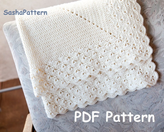 Crochet baby blanket with lacy border pattern – square ...