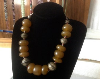 Old Ethnic Tribal Morocco necklace. African Amber beads, Metal beads. Berber African Bedouin nomadi Hippy Gypsy necklace. HW135