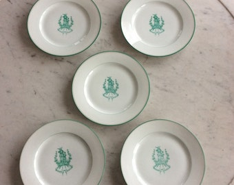 Set of 5 antique plates