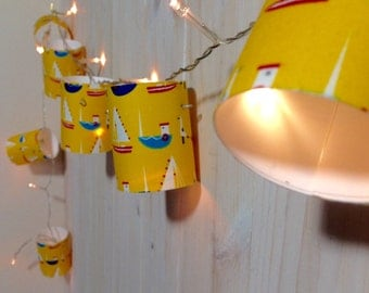 Little Boats on Yellow fabric covered fairy lights
