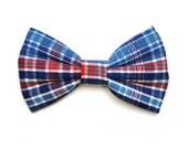 The Washington Bow Tie For Dogs - Dog Bowtie, Brooklyn Bowtied, Made in Brooklyn, Red White and Blue, Patriotic, Plaid, Fourth of July