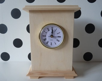 Wooden Unfinished Unpainted Plain Standing Clock, Wooden clock for decoupage, Home decor, Blank clock, wood for painting, wood Quartz clock