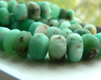 Chrysoprase gemstone rondelle 8-9mm ,9-10mm, 10-11mm beads- 4in strand-  Jewelry beads supply- chrysoprase matte rondelle beads