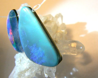 Australian boulder opal doublet 20x6mm, 27x13mm- 2 blue opal beads - Jewelry beads supply- Gemstone opal beads