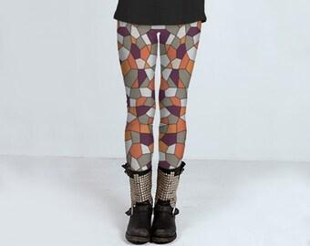 Harvest Stained Glass: leggings, yoga leggings, printed leggings, women's clothing, women's leggins, spandex sports