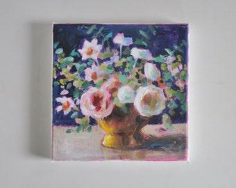 original acrylic painting, flower painting, floral painting, tiny painting, small painting, acrylics on canvas, canvas art