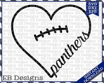 Panthers Football Love SVG DXF EPS Cutting Machine Files Silhouette Cameo Cricut Valentine Vinyl Cut File Valentine Vector svg file