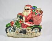 "On Sale***Massive 15"" Mercury Glass Motorcycle Santa Tabletop Centerpiece"